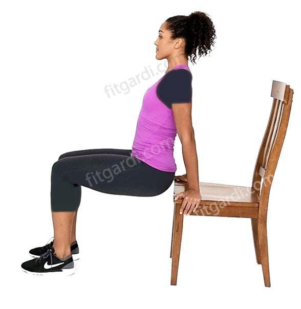پشت بازو با دیپ نیمکت یا صندلی - Bench or Chair Dip